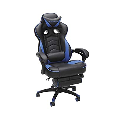 RESPAWN 110 Racing Style Gaming Chair, Reclining Ergonomic Leather Chair with Footrest, in Blue