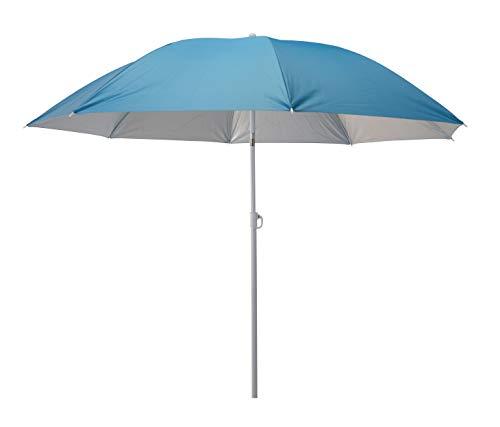 Meinposten. Sonnenschirm 2in1 Strandschirm höhenverstellbar UV Schutz Schirm Strand Ø 155 cm (Blau)