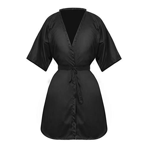 PIXNOR Capas de Peluquería Bata de Peluquería para Clientes Bata de Peluquería Estilo Kimono Bata de Cliente de Salón Bata para Peluquerías Clientes Corte de Pelo (Negro)