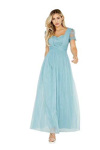 Little Mistress Vrouwen Jurk Clarita Blue Lace Mesh Maxi Dress