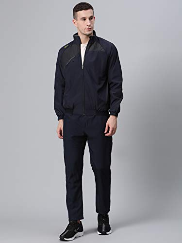 DIDA Navy Polyester Athletic Gym Running Sports Tracksuit for Men