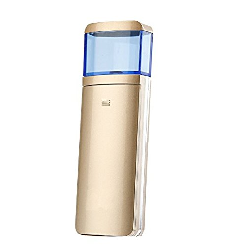 Facial Mist Sprayer,Portable Sliding Nano Facial Steamer Handy Mirror Moisture Ionic Mist Face Hydration Mister Mini Diffuser Beauty Skin Care Machine for Home, Office and Outdoor (Luxury Golden)