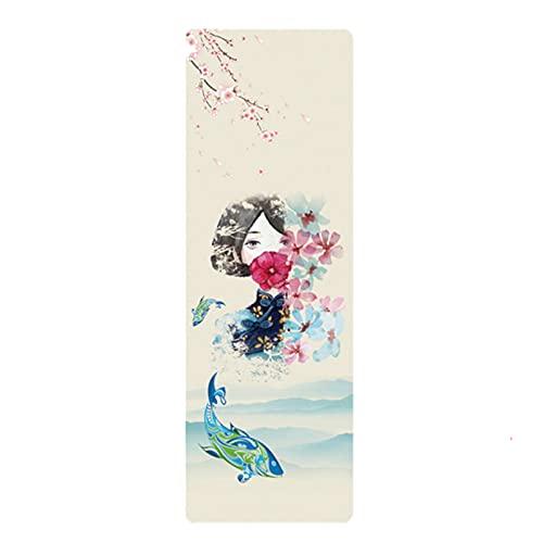 FENGCHENG Tpe - Esterilla de yoga respetuosa con el medio ambiente antideslizante de ante con color para principiantes, fitness, yoga Mat primavera equinoccio 183 cm x 61 cm x 0,5 cm