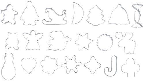 Rosenstein & Söhne Ausstecher: 20-tlg. Ausstechformen-Set aus Edelstahl für Plätzchen, Kekse, Deko (Keksausstecher)
