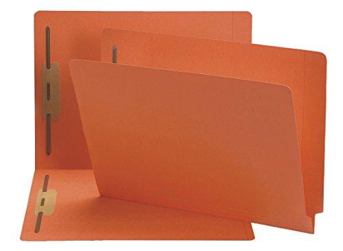 Smead End Tab Fastener File Folder, Shelf-Master Reinforced Straight-Cut Tab, 2 Fasteners, Letter Size, Orange, 50 Per Box (25640)