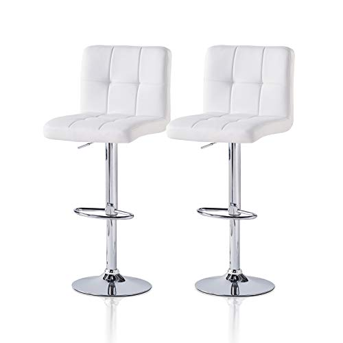 TUKAILAI 2 PCS Bar Stool Adjustable Barstools with Back, Chrome Footrest and Base for Breakfast Counter Kitchen and Home White