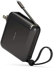 MATECH LightCell+ 10000mAh 小型軽量モバイルバッテリー【ケーブル内蔵/コンセント付 一体型/折り畳み式プラグ/MFi認証済】iPhone&Android対応【国内24カ月保証】