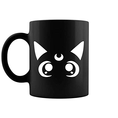 Magical Sailor Cat Face Crescent Moon Anime Nerdy Coffee Mug 11 & 15 Oz