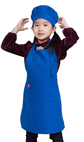 ALIPOBO Kids Apron and Chef HatSet, Children'sAdjustable Bib Apron with 2 Pockets. Cute Boys Girls Kitchen Apron forCooking,Baking,Painting, Training Wear(6-12 Year, Blue)