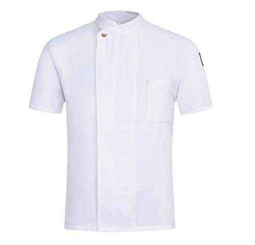 SMACO Uniformes Unisex Chef de Cocina Ropa de Trabajo de Verano de Manga Corta del Cocinero Chaquetas y panadería Comida Servicio,Blanco,M