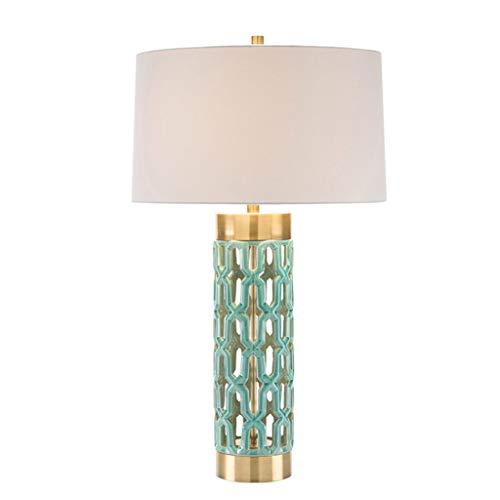 Lampara escritorio E Lámpara de mesa de cerámica - New China Model Bedroom, lámpara de noche Luxury Metal de cerámica hueca lámpara de escritorio moderna
