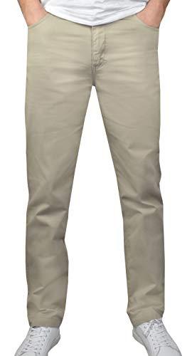 1stAmerican Elegante Pantalones para Hombre 100% Algodon Canvas - de 5 Bolsillos Estilo Jeans - Regular fit Color sólido