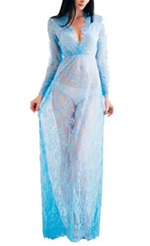 Arbres Langes Damen Kleid, Umstandsmode aus durchsichtiger Spitze, für sexy Fotos