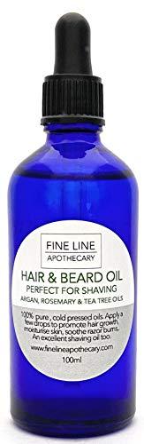 HUILE D'ARGAN avec ROMARIN & ARBRE du THÉ - HUILE DE CHEVEUX ET DE BARBE - 100 ml - par Fine Line Apothecary - ADOUCIT et NOURRIT Barbe, Peau et Cheveux.