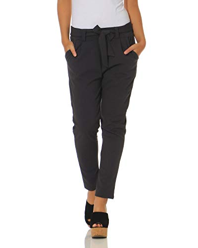ZARMEXX Damen Hose Stoffhose Freizeithose mit integriertem Schleifengürtel High Waist Business Casual grau XL (42)