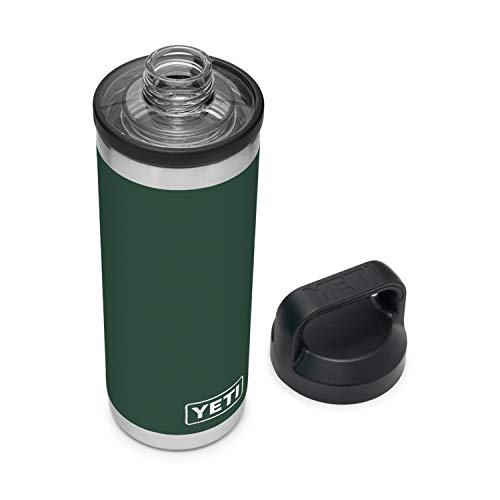 YETI Rambler 18 oz Bottle, Vacuum Insulated, Stainless Steel with Chug Cap, Northwoods Green