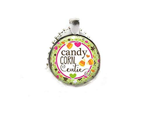 Sunshine Candy - Collar con Colgante de Cristal de maíz y Bisel de Plata, joyería de otoño, Adornos de Cristal de cúpula, Regalos para Ella