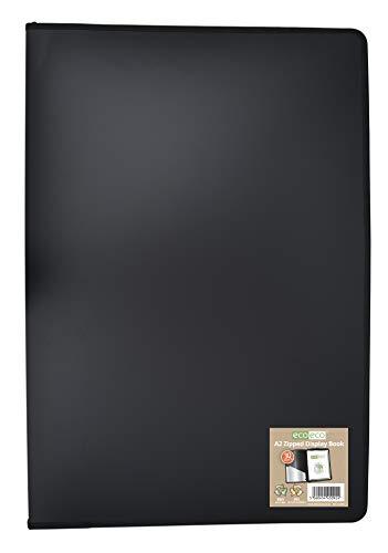 eco092 eco092 - Raccoglitore per presentazioni, formato A2, 50% riciclato, 30 tasche, colore: Nero