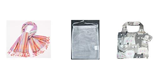 Chilino Bundle Ausflug Set de bolsa de la compra plegable, grande y estable y paño de algodón se puede utilizar como toalla de playa, capa, sarong, bufanda, pañuelo de transporte, poliéster