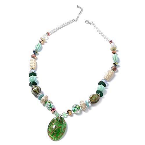 Shop LC Delivering Joy Oval Murano Millefiori Glass Pendant with Beads Necklace for Women 30