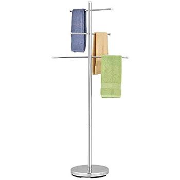 MyGift 6-Rung Luxury Chrome-Plated Metal Freestanding Indoor Towel Tree Bath Towel Rack