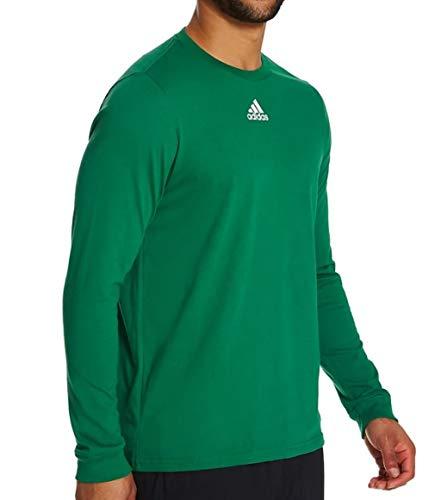 adidas Men's Amplifier Long Sleeve Logo T-Shirt EK02, Large, Kelly Green
