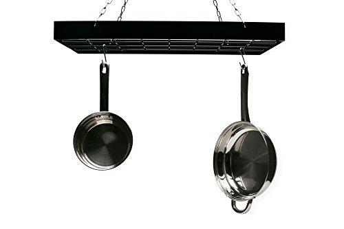 Fox Run Rectangular Hanging Pot Rack with Chains and 6 Hooks 2 Inch Black Iron