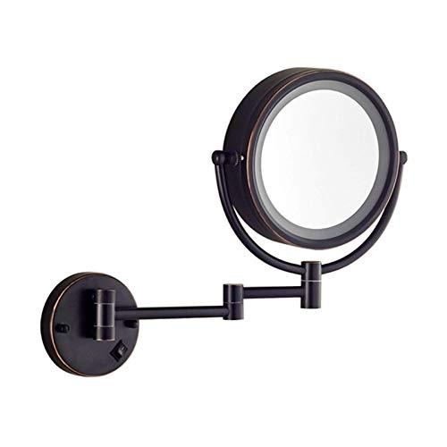 WANGXIAOLINJINGZI Espejo de Afeitado montado en la Pared, Espejo de Maquillaje de iluminación LED, Espejo de tocador con Luces, 10X Ampliación Baño Telescópico Plegable de Doble Cara Espejo