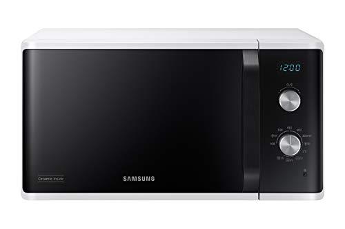 Samsung Micro-ondes MG23K3614AW/EG avec grill/capacité de cuisson de 23 litres / 800 W/grand élément de cuisson pour un brunissage uniforme/intérieur en céramique émaillée résistant aux rayures