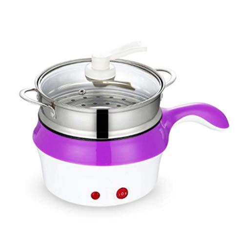 Multifonction électrique double couche Hotpot Mini nouilles Cuisinière Poêle antiadhésive Œufs cuits à la vapeur (Couleur : Purple)