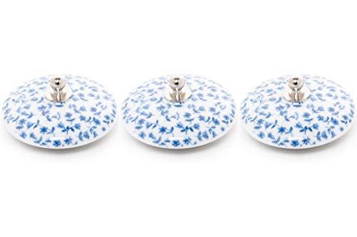Abc_baño Tapon Lavabo Porcelana 3 Unidades Decorado Tapiz Azul