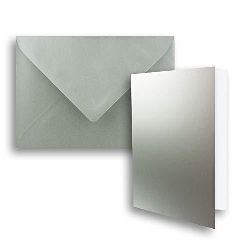 FarbenFroh® - Juego de 10 tarjetas plegables DIN B6 con sobres en plata metalizada, 120 x 170 mm, ideal para tarjetas de invitación, bodas, bautizos, comuniones y confirmaciones