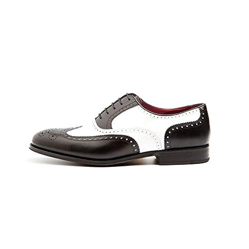 Beatnik Shoes Zapato de Cordones Bicolor Blanco y Negro Estilo Oxford Brogue Spectator de Hombre Beatnik Holmes Black & White