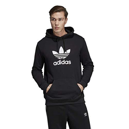 adidas Originals mens Trefoil Hoodie Hooded Sweatshirt, Black/Large White, Medium US