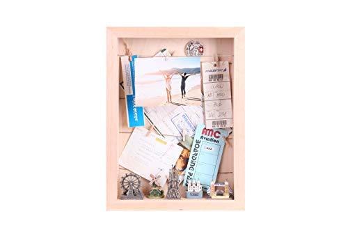 Dragon Frames, 3D-Bilderrahmen, A3 3D-Holzrahmen mit Acrylglasfront aus Massiveholz Erle, 10 Holzclips, 2m Schnur, Display Box, Objektrahmen zum Befüllen, Stehend und Hängend