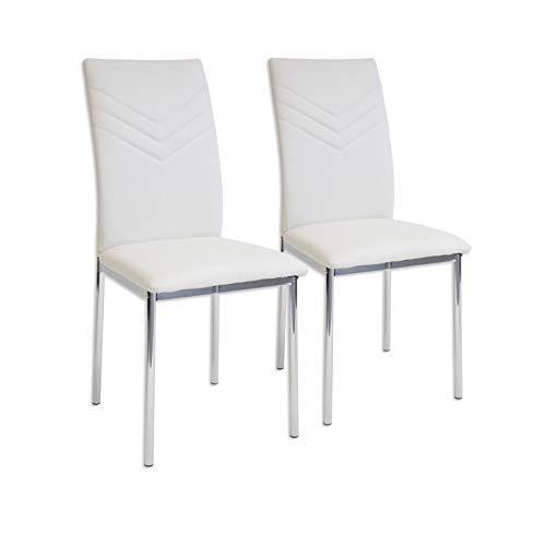 Albatros 2922 Verona Set de 2 sillas de Comedor, Blanco, pie