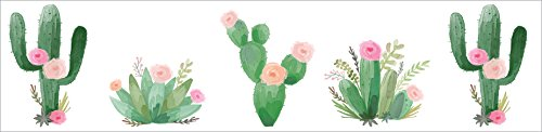 Sweet Jojo Designs Pink and Green Boho Watercolor Wallpaper Wall Border for Cactus Floral Collection