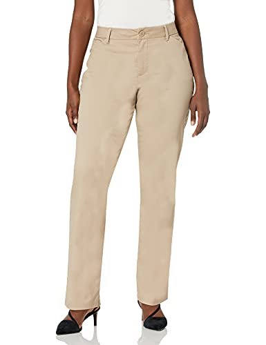 Lee Women's Wrinkle Free Relaxed Fit Straight Leg Pant, Flax, 12