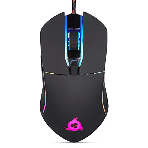 KLIM AIM Gaming Mouse - Wired Ergonomic Gamer USB Computer Mice, Chroma RGB Mouse [7000 DPI] [Programmable Buttons] Ambidextrous, Ergonomic for Desktop PC Laptop, High Precision Optical Black