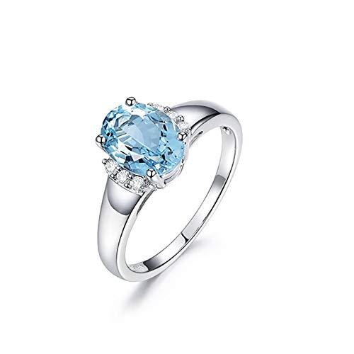 KnBoB Damen Trauringe Weißgold 750 Einfach Oval Blau Aquamarin 1.35ct mit Weiß Diamant 0.05ct Ring Größe 56 (17.8)