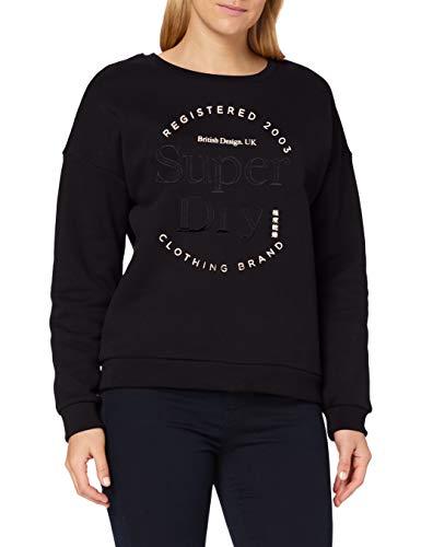 Superdry Womens Established Crew Sweater, Black, M (Herstellergröße:12)