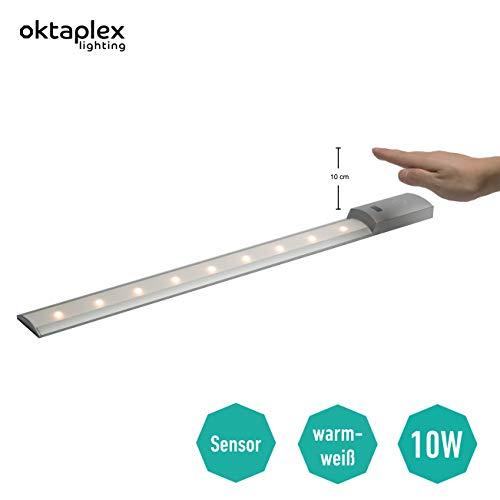 Oktaplex lighting Unterbauleuchte Küche LED Sensor Lampe Flat Motion 60cm I Praktische Küchen-Beleuchtung mit Bewegungsmelder 10W I Flache Lichtleiste LED Warmweiß 3000K 780lm Unterschrank Licht