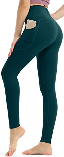 Persit Damen Sport Leggings, High Waist Yogahose Lang Sporthose Sportleggins Tights Blaugrün L