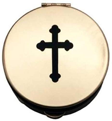 Pyx With Black Cross (PS161) - 1 1/2' Diameter, 1/2' Deep, Polished Brass, Holds 6-9 Hosts
