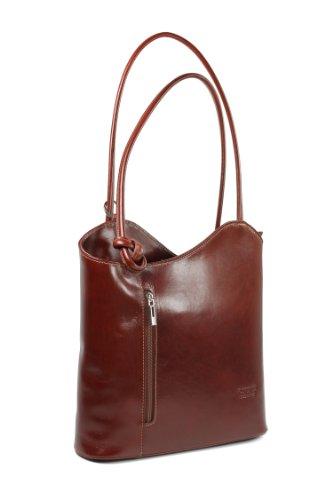 Belli ital. Leder Handtasche Backpack Damen Rucksack aus feinstem Leder in maronenbraun - 28x28x8 cm (B x H x T) …