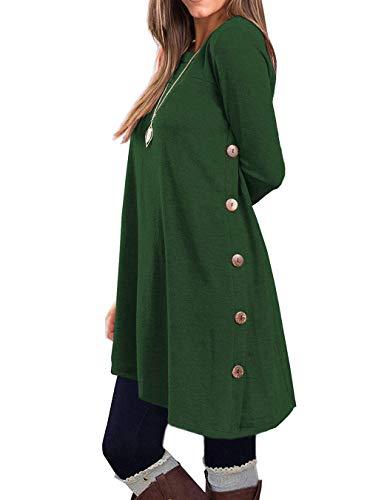 KORSIS Women's Long Sleeve Round Neck Button Side T Shirts Tunic Dress Deep Green L