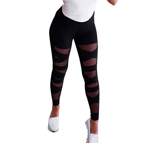 Lulupi Damen Sexy Mesh Leggings Spitze Hose Fitness Yoga Sportleggins Tights Frau Mädchen Mode Patchwork Streifen Sporthose Laufhose Slim Fit Skinny Trainingshose Yogahose Pants