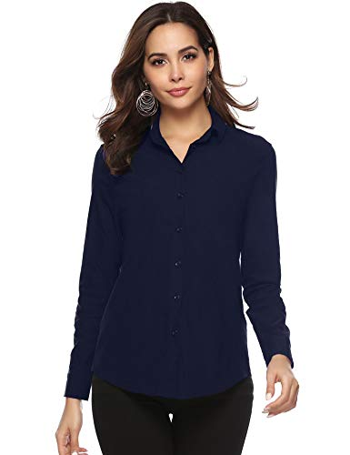 Abollria Damen Bluse Basic Stretch Hemdbluse Elegante Langarm Business Blusen Button Down fürs Büro