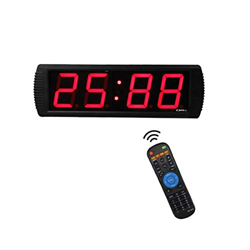 GAN XIN Reloj electrónico de 4 dígitos, Temporizador 12/24H, Reloj de Cuenta/cronómetro con Mando a Distancia o Control de aplicación