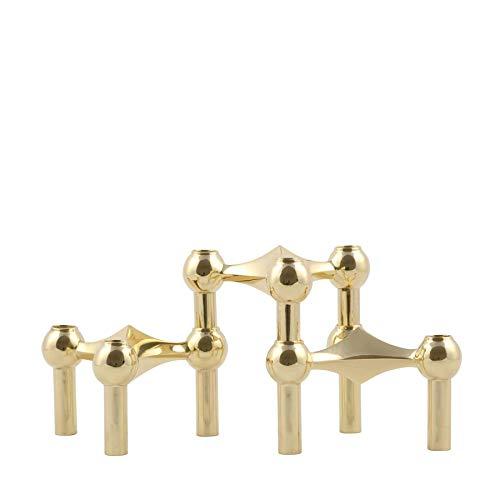 Stoff Nagel Kerzenhalter, Metall, Gold, 6,5 x 10,2 cm